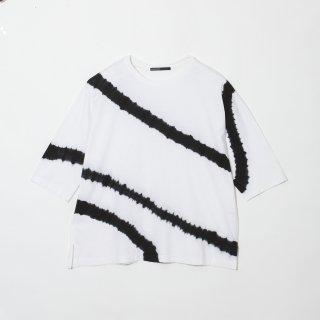 Crew Neck Cotton T Shirt Color No.WHBK(ホワイト*ブラック)
