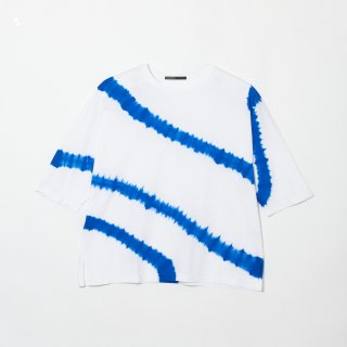 Crew Neck Cotton T Shirt Color No.WHBU(ホワイト*ブルー)