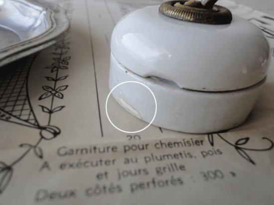フランス 真鍮と陶器のアンティークスイッチ