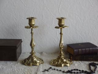 フランスアンティーク 真鍮製 ペアの燭台