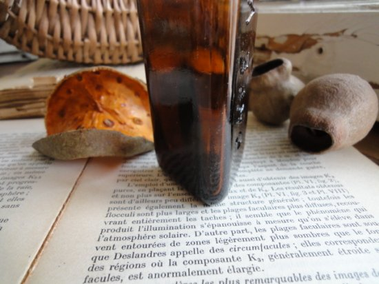 アンティークボトル ガラスの薬瓶(琥珀)