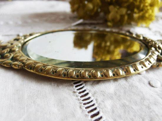 フランスアンティーク 真鍮製エンジェルの手鏡
