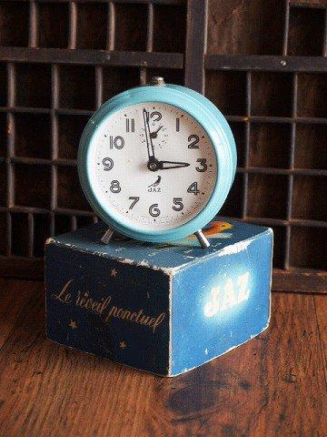 JAZ レトロブルーの目覚まし時計(箱付き)