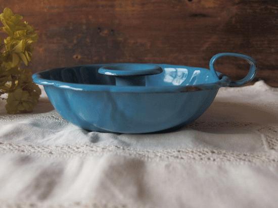 イギリス  琺瑯の青いキャンドルホルダー