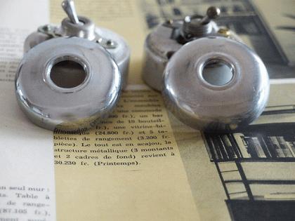 アンティークスイッチ クロムメッキとアルミカバーの2個セット