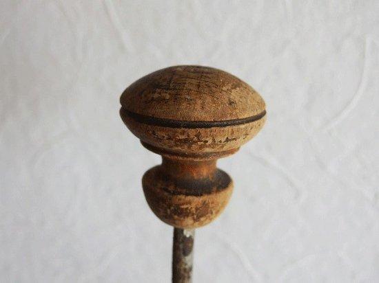 フランス 木とメタルのアンティークフック(C)