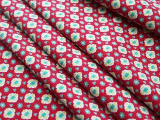 フランス アンティーク布(赤地の黄色い小花)