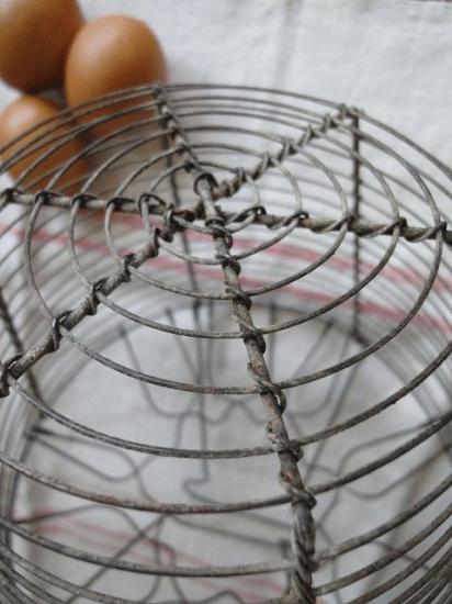イギリスアンティーク サラダ用ワイヤーバスケット