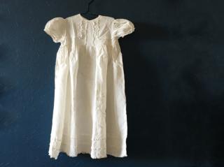 アンティーク コットン製ベビードレス(麦の穂の刺繍)