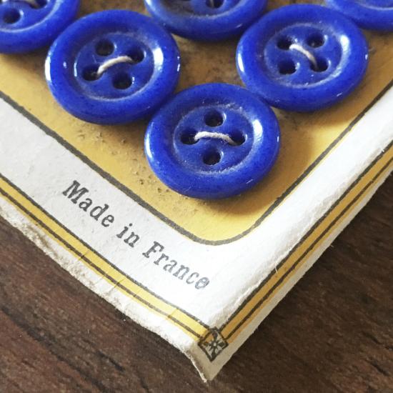 フランスアンティーク 青いミルクガラスのボタンシート
