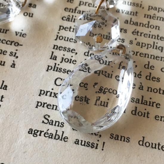 フランスアンティーク クリスタルのシャンデリアパーツ5個セット