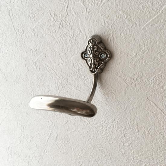 フランス アイアン製 シルバー色のアンティークフック