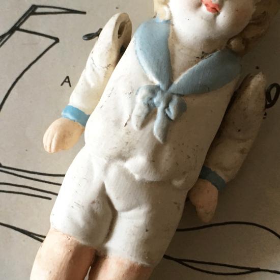 アンティーク ビスクドール ミニョネット(青いセーラー服)