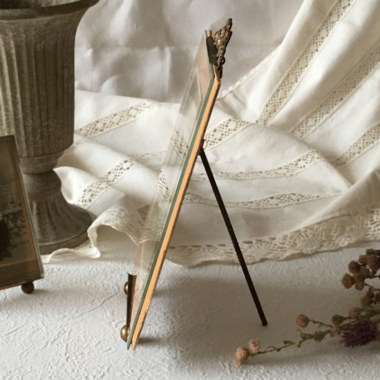 フランスアンティーク ベベル(面取り)ガラスとリボン装飾のフォトフレーム