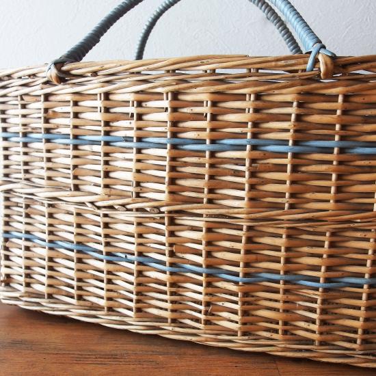 イギリスアンティーク 青いラインのバスケット(マガジンバスケット)