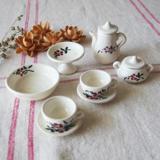 フランスアンティーク 陶器製おままごとセット(ドールハウス用おもちゃのティーセット6点)