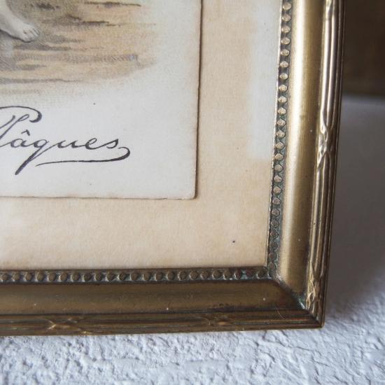 フランスアンティーク オルモル装飾 リボンのフォトフレーム(アンティークポストカード付)