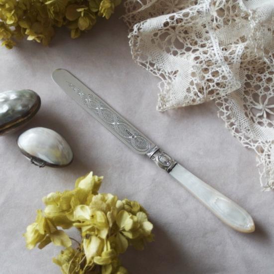 ヴィクトリアン スターリングシルバーとマザーオブパールのデザートナイフ