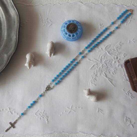 フランスヴィンテージ 青いミルクガラスのロザリオ(聖母マリアのケース付き)