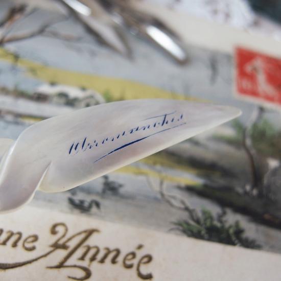 フランスアンティーク マザーオブパールのペン軸とペン先のセット