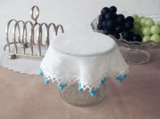 イギリスアンティーク 青いミルクガラスのジャグカバー(20cm)