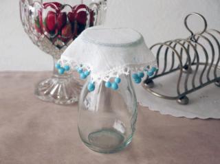 イギリスアンティーク 青いミルクガラスのジャグカバー(13.5cm)