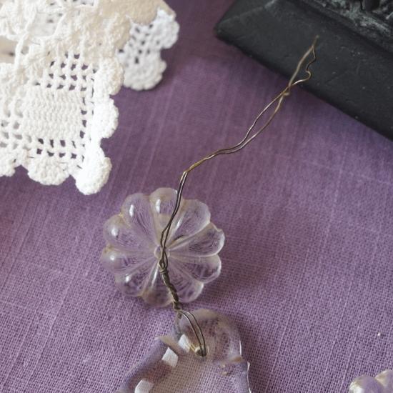 フランスアンティーク クリスタル お花とドロップのシャンデリアパーツ(1)