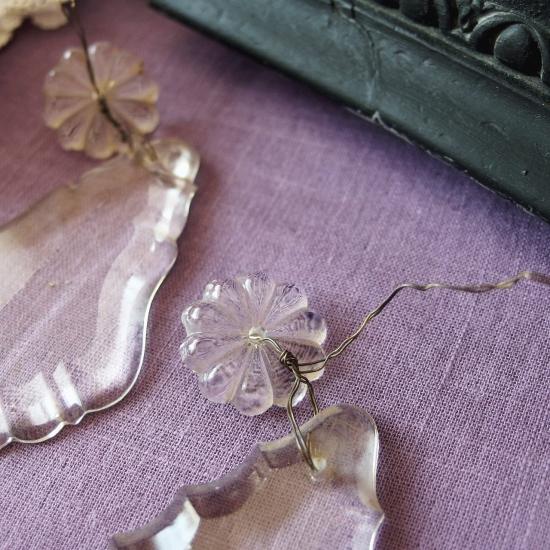フランスアンティーク クリスタル お花とドロップのシャンデリアパーツ(2)