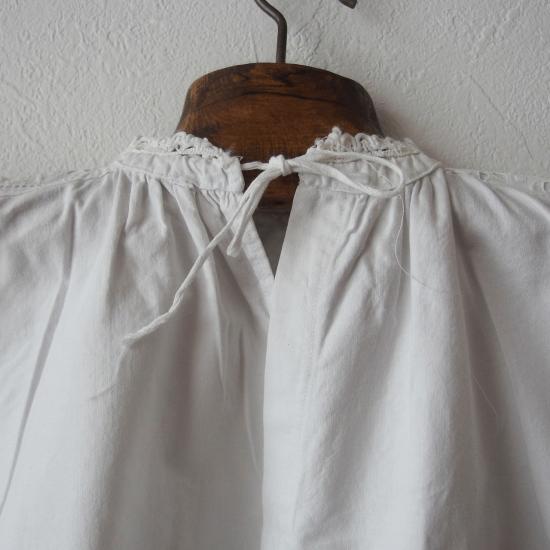 フランスアンティーク コットン製 リボン付きベビードレス