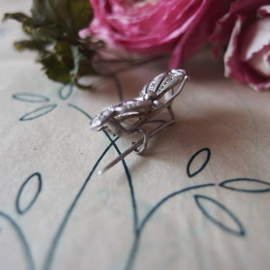 アンティーク フィリグリー(銀線細工)小さな蝶のブローチ(1)
