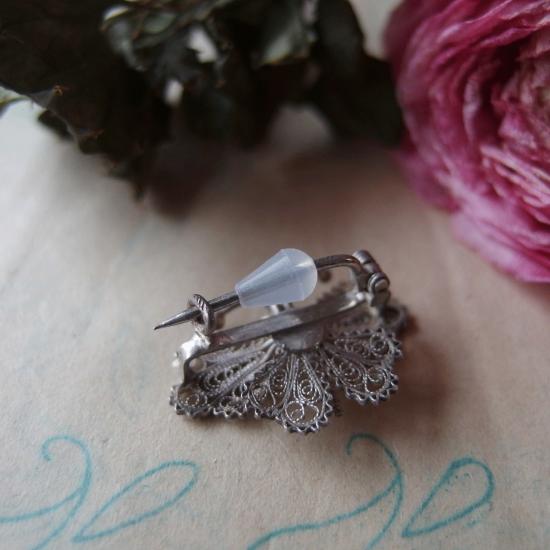 アンティーク フィリグリー(銀線細工)小さな蝶のブローチ(3)