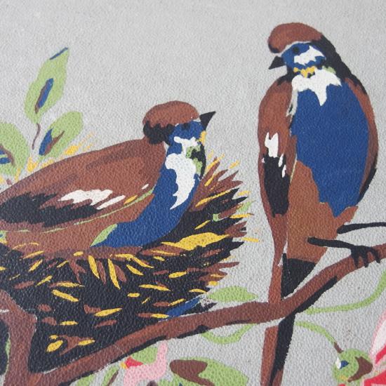 フランスアンティーク 鳥とお花のポストカードアルバム(鳥のポストカード5枚付き)