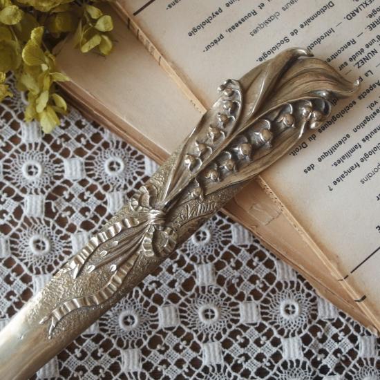 フランスアンティーク すずらんとリボンのブロンズ製ペーパーナイフ(サイン入り)