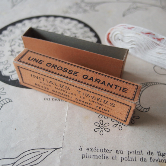 フランスアンティーク イニシャル刺繍テープ(N.A.)