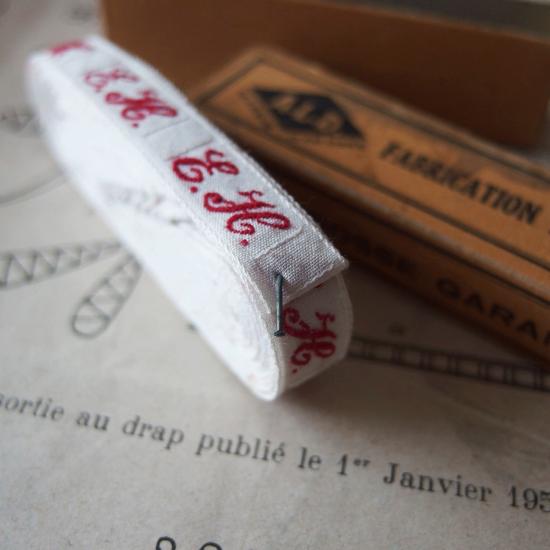 フランスアンティーク イニシャル刺繍テープ(E.H.)