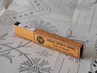 フランスアンティーク イニシャル刺繍テープ(M.J.)