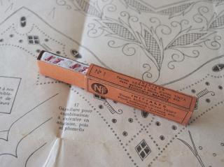 フランスアンティーク イニシャル刺繍テープ(N.J.)