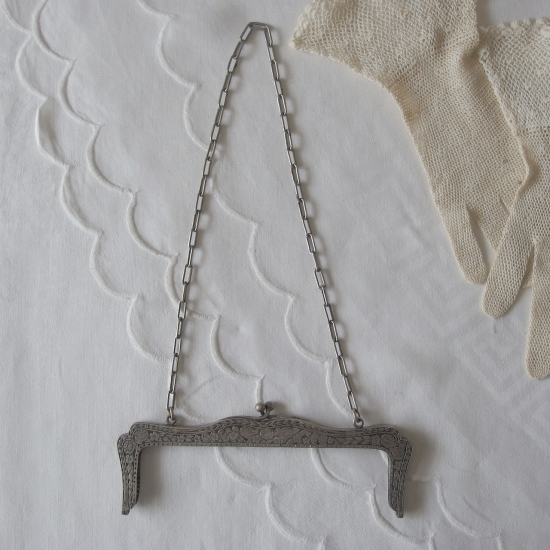 フランスアンティーク シルバー 薔薇模様のバッグ口金