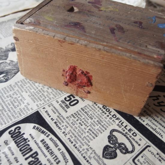 アンティーク フランスの郵便小包用 小さな木箱(スライド蓋)