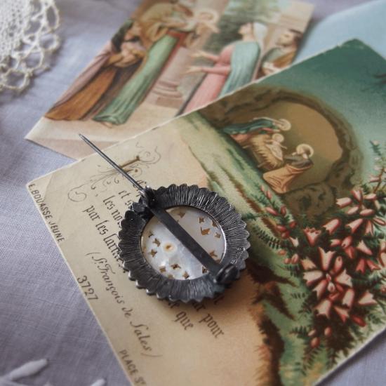 ベツレヘムの星 スターリングシルバーとマザーオブパールのブローチ(ホーリーカード付き)