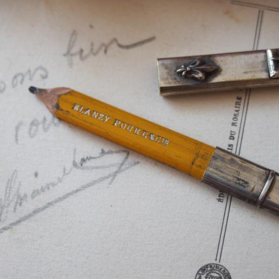 フランスアンティーク シルバー鉛筆ホルダー ジャンヌダルクとフルールドリス