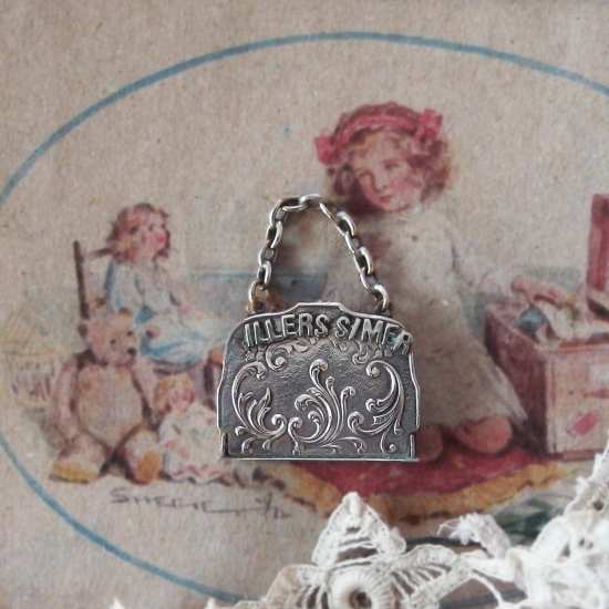 フランスアンティーク ドール用 シルバープレート製小さなハンドバッグ