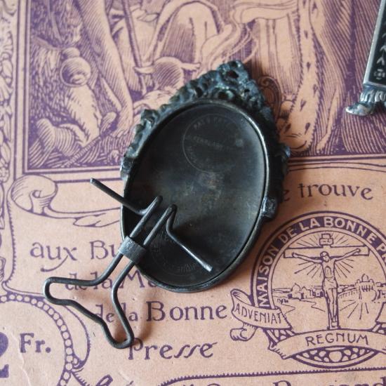 フランスアンティーク ミニフォトフレーム 2個セット(真鍮とシルバープレート)
