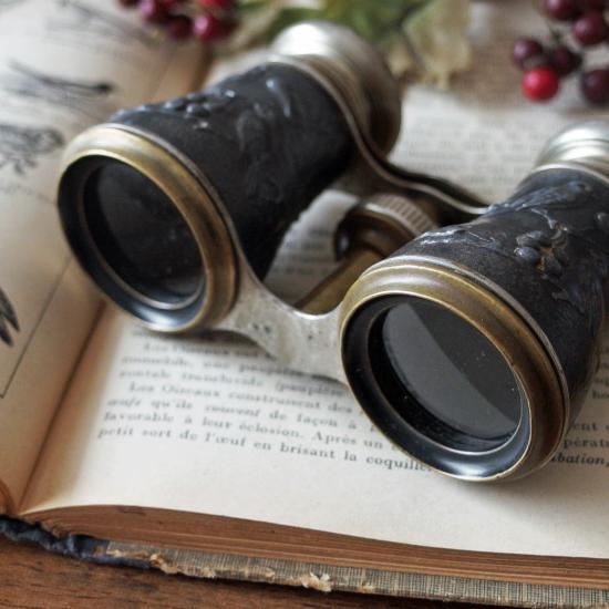 フランスアンティーク 鳥と木の実のオペラグラス 真鍮とメタルの双眼鏡