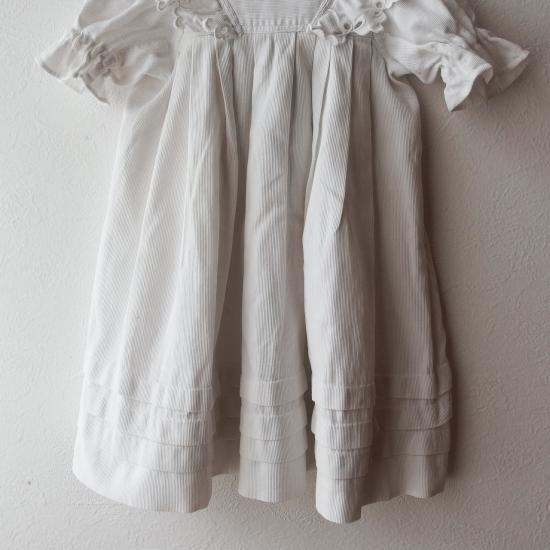 フランスアンティーク 洗礼式用 フリル付きコットンピケのベビードレス