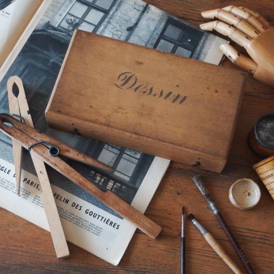 フランスアンティーク デッサン用 道具箱と大きなクリップのセット