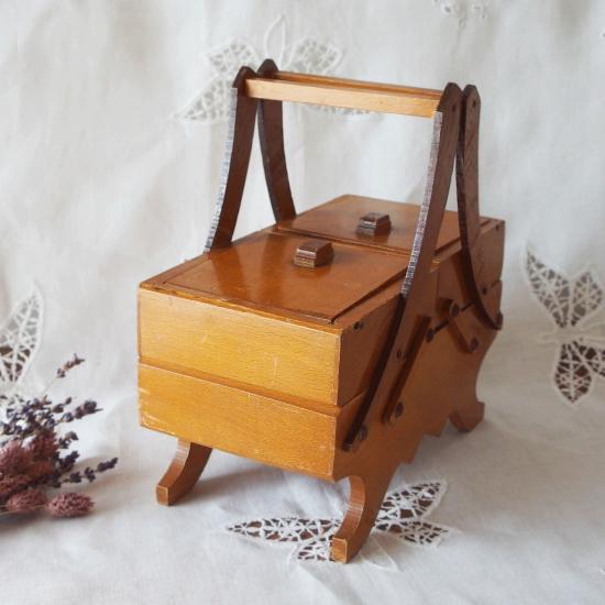 フランスアンティーク 木製 脚付き ソーイングボックス お裁縫箱