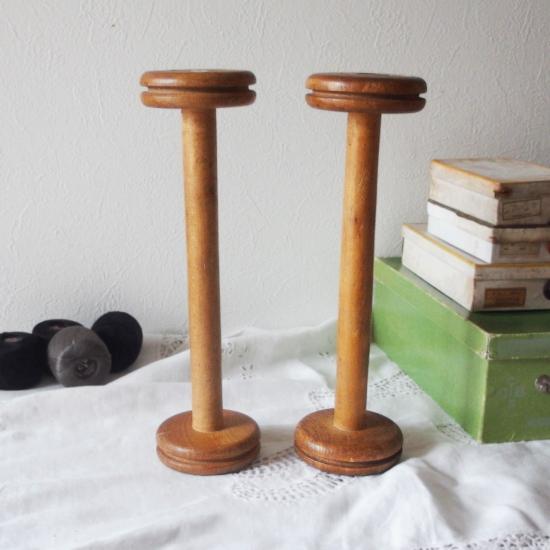 フランスアンティーク 大きな木製ボビン 糸巻き スプール 32cm(1)