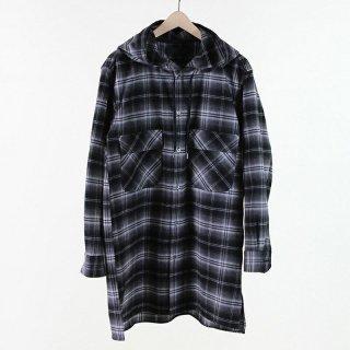 【55%OFF】BLACK & BLUE HOODED LONG SHIRT