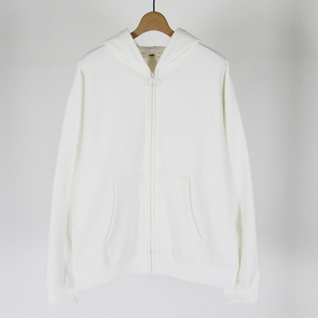 【45%OFF】【unfil / アンフィル】cotton-terry zip up hoodie WHITE